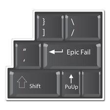 """Epic Fail Funny Keyboard car bumper sticker decal 4"""" x 4"""""""