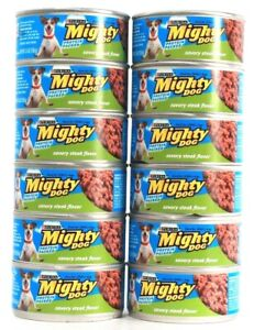 12 Cans Purina Mighty Dog 5.5 Oz Savory Steak Flavor Protein Packed Wet Dog Food