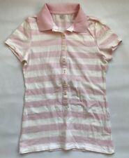 Uniqlo Women's Lightweight Pink Striped Polo Shirt Small Worn