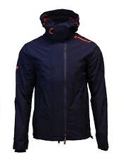 Superdry Mens New Tech Hood Pop Zip Windcheater Triple Zip Jacket Coat Navy