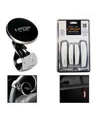 COMBO SET OF I-POP Car Steering Wheel Knob & IPOP Door Guard White