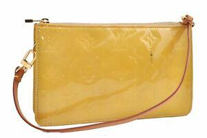 Authentic Louis Vuitton Vernis Lexington Pouch Yellow LV A9116