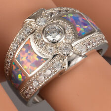 Moissanite Lavender Purple Fire Opal CZ Side Silver Band Ring US Size 6 7 8 9 10
