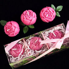 3D Rose Flower Candle Soap Mold Silicone Soap Making Mould DIY Handmade 55x44mm