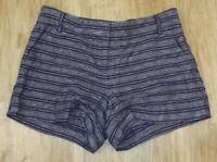 "LOFT MARISA BLUE STRIPED SHORTS - 100% Linen  - Womens Size 4 - 4"" Inseam"