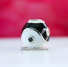 Authentic Pandora Yin-Yang, Clear CZ, Black & White Enamel 790488CZ