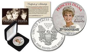 PRINCESS DIANA  20th Anniversary 1oz .999 SILVER AMERICAN EAGLE U.S. COIN w/BOX