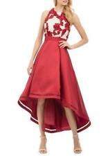 NICOLE MILLER® 14 Red Pleated Satin High-Low Embellished Gown or Dress NWT $258