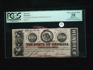 1863 Milledgeville State Georgia $100 Obsolete Rattlesnake Note PCGS-58 Choice