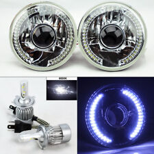 """7"""" Round Clear Glass Projector DRL Headlight w/ 6K 36W LED H4 Bulbs Plymouth"""