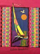 Vintage Existing Beach South Carolina Windsurfing Pink Large T-Shirt Ocean Beach