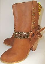 Not Rated Wos US7.5 Brown Vegan Leather Studded Bling Buckles Heels Boots 2847