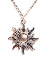 "ELEGANT SUN_Pendant on 18"" Chain Necklace_Day Light Rays Sunny God Silver_169N"