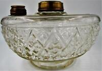 """Antique EAPG Snowflake Glass Hanging Oil Kerosene Bracket Lamp Font 3 3/8"""" Base"""