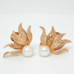 MARKED 14K GOLD OVERSIZED PEARL 'FIRE & ICE' CLIP ON ANTIQUE EARRINGS 7.3 GRAMS