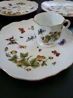 Lenwile Ardalt Strawberries Butterflies Lady Bug Luncheon Plate Gold Rim  4 sets