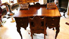 R.J.Horner Antique Walnut Carved Nord Wind Faces Lady'S Desk And Chair