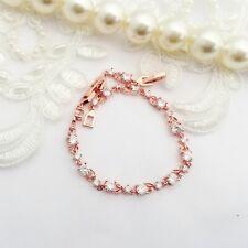 Bridal Wedding Bracelet Rose Gold Leaf CZ Clear Crystal Gift Boxed Bridesmaid