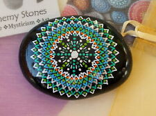 Hand Painted Alchemy Amplification Stone w. Green, Blue, Orange, Silver & White