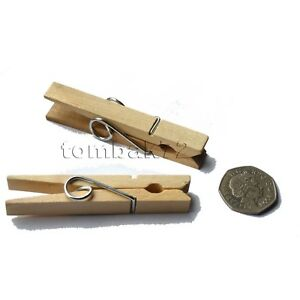 24 Large WOODEN PEGS Clothes Hanging Washing Line Airer Dryer Strong Grip Spring