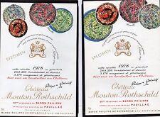 PAUILLAC 1EGCC ETIQUETTE CHATEAU MOUTON ROTHSCHILD 1978 LES 2 MODELES§22/04/17§
