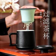 Tasse à thé en céramique noire tout-en-un avec couvercle et infuseur 380ml