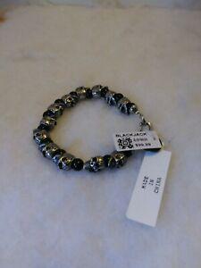 Blackjack Men's Genuine Onyx Stainless Steel Skull Beaded Bracelet BJB169ON