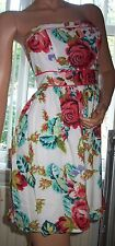 BE BEAU 100% Cotton Multi Colour Floral Print Bandeau Summer Dress Size 10 BNWT