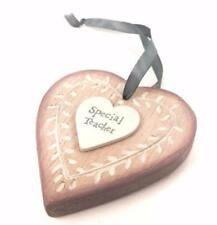 Special Teacher Pink wooden hanging heart by East Of India 468 EOI