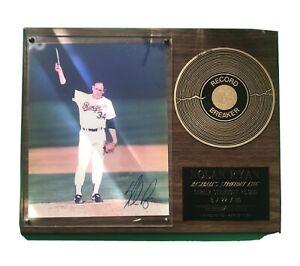 MLB 1987 Nolan Ryan signed record breaker plaque  5000 strikeouts (Rangers)
