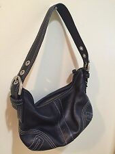 AUTHENTIC Coach 8A01 Small Black Leather Duffle Bag Hobo Tote Tassled Purse