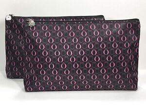 2pc Lancôme Faux Leather Makeup Bag in Pink & Black