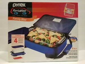 PYREX Portables 2 Quart Family Size 4 Piece NEW in Unopened Box Blue
