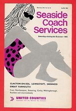 Coach Timetable ~ United Counties - Clacton from Northampton etc - Summer 1973