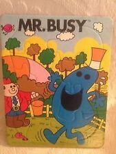 Rare VTG 1983 Mr Men Little Miss Busy Frame Tray Puzzle Roger Hargreaves