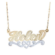Personalized Gold Plated .925 Sterling Silver Heart Twist Nameplate -MADE IN USA
