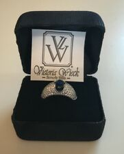 Victoria Wieck Sapphire Sterling Silver Domed Band Ring, Sz 9, NWT
