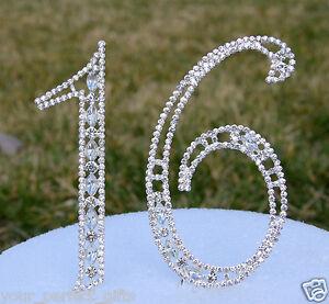 Large Rhinestone Silver Crystal Sweet Sixteen 16 Birthday Number Cake Topper