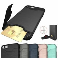 Kickstand Card Pocket Hybrid Armor Silicone Cover Case For iPhone 6 6S 7 8 Plus