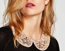 Zara Hermoso Vestido con collar de joyas EMBROIDERD con cuentas NUEVO Collar estilo Babero