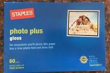 Staples Photo Plus Gloss Paper 4x6 - 60 Sheet -  NEW