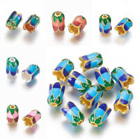 10pcs 5-Petal Alloy Bead Caps with Enamel Jewelry Findings Craft 11x8mm Hole 2mm