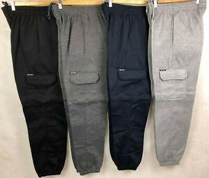 Cargo Pocket Fleece Track Pant, Tracksuit Pant Joggers, Work Pants W/Elastic Hem