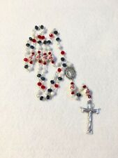 CLEVELAND INDIANS ROSARY NECKLACE JEWELRY GLASS BEADED MLB BASEBALL ORNAMENT