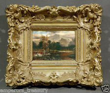 19th Century Landscape European Oil Painting with Heavy Gilded Frame