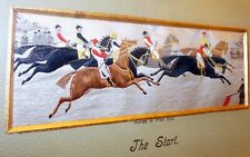 Antique STEVENGRAPH PICTURE PURE SILK Embroidery HORSES Equestrian RACE