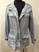 Rockmans Light Blue Designer Fashion Boho Casual Zip Jacket & Pockets Size 10