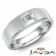 Solitaire Baguette Diamond Mens Wedding Band 14k White Gold 6.5mm Ring 0.15Ct