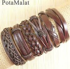 PotaMalat 6pcs Brown Leather Bangle Wristband Cuff Bracelet Jewelry Unisex-D86