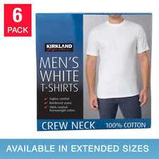 Kirkland Men Crew Neck Cotton TShirt 6-pack White S,M,L,XL,XXL,3XL Sealed New